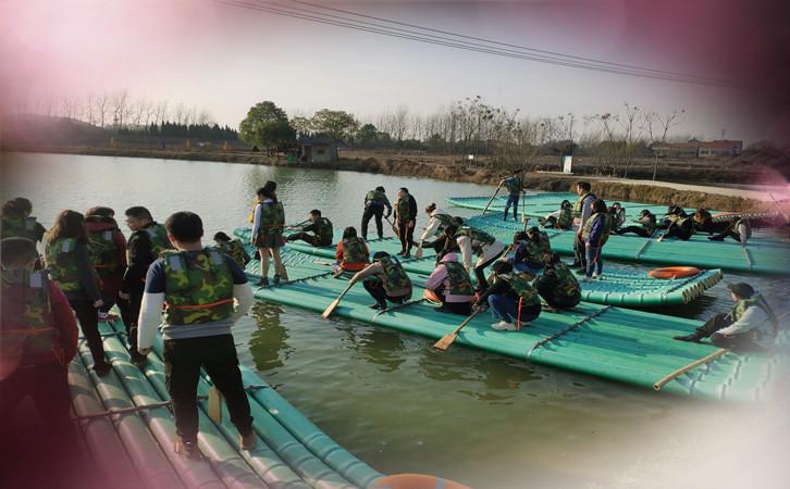 划船比赛,乐农湖畔水上竹筏